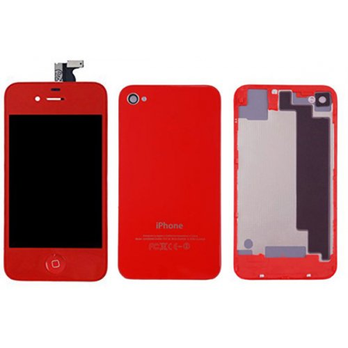 Red LCD Display Touch Screen Digitizer with same color Home Button and Back CoverFor iPhone 4S