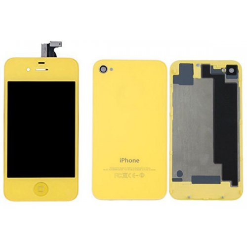 Yellow LCD Display Touch Screen Digitizer with same color Home Button and Back CoverFor iPhone 4S