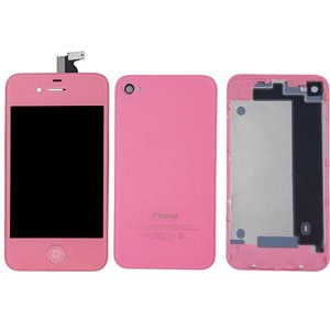 Pink LCD Display Touch Screen Digitizer with same color Home Button and Back CoverFor iPhone 4S