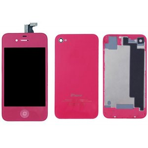 Rose Red LCD Display Touch Screen Digitizer with same color Home Button and Back CoverFor iPhone 4S