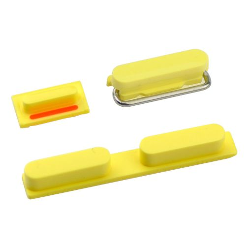Power Button + Volume Key + Mute Switch Button For iPhone 5C - Yellow