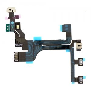 Original Power Volume Button Flex Cable with Metal Plate Ribbon for iPhone 5C