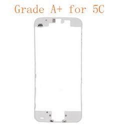 For iPhone 5C Frame Bezel with Hot Melt Glue or 3M Sticker Attached White Grade A+