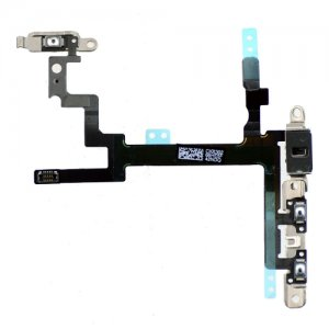 Original  Power/Volumn/Mute Flex Cable with Metal Plate Full Assembly for iPhone 5