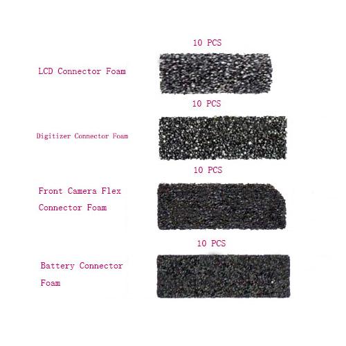 4 PCS Set Connector Foam For iPhone 5 40 Pcs/lot (10pcs Foam for LCD Connector -10pcs Foam for Digitizer Connector -10pcs Foam for Front Camera Connector -10pcs Foam for Battery Connector )