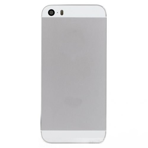 White / Silver Back Housing Cover with Side Buttons for iPhone 5S