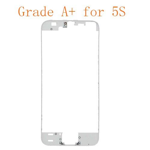 For iPhone 5S Frame Bezel with Hot Melt Glue or 3M Sticker Attached White Grade A+