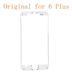 For iPhone 6 Plus Front LCD Screen Bezel Frame with Hot Matel Glue Attached White Original