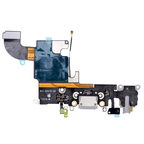 "Charging Port Flex Cable with Earphone Flex for iPhone 6S 4.7"" Dark Grey"