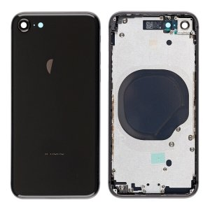 For iPhone 8 Back Cover with Frame Black