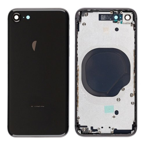 For iPhone 8 Back Cover with Frame Assembly Black