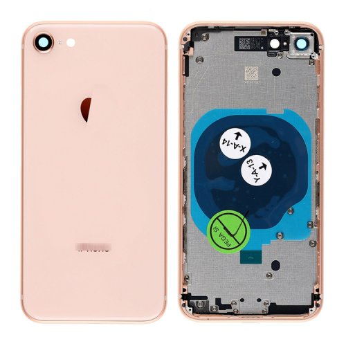 For iPhone 8 Back Cover with Frame Gold