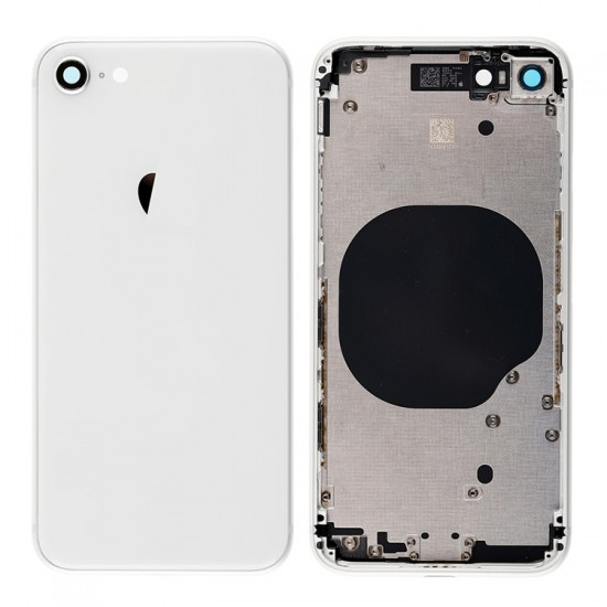 For iPhone 8 Back Cover with Frame White