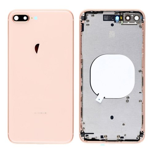 For iPhone 8 Plus Back Cover with Frame Gold