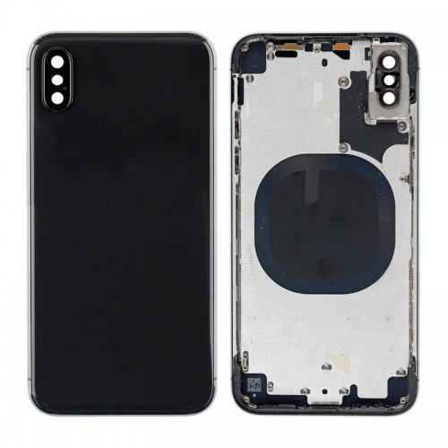 For iPhone X Back Glass with Middle Frame Black
