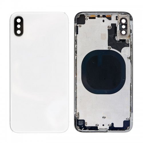 For iPhone X Back Glass with Middle Frame White